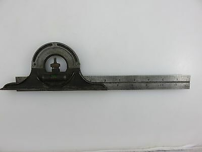 "Brown & Sharpe Protractor Head Combination Square 12"" Union Tempered Steel Rule"