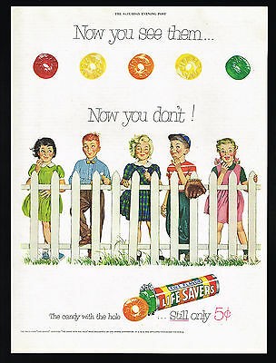 1954 Life Savers Candy Five Flavor White Picket Fence Vintage Color Print Ad