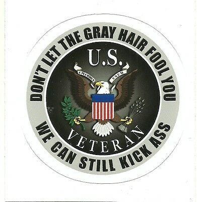 MILITARY VETERAN DON'T LET THE GRAY FOOL YOU STILL KICK BUT   sticker decal