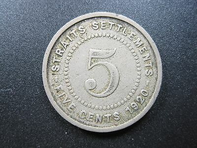 Straits Settlements 5 Cents 1920 Nickel #c British Malaysia Singapore Coin