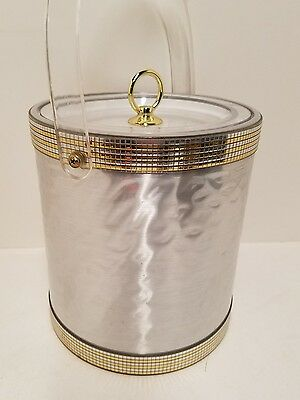 Vintage Mid Century George Briard ice bucket Hollywood Regency Silver Gold Lucit