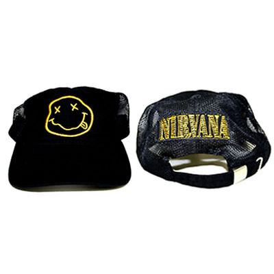 5dae92d3d49 Official NIRVANA Logo Smile Smiley Face Dad Trucker Hat Soft Slouch Cap