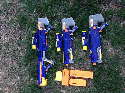 lot of 3 Nerf gun longshot long shot scope. cartrieges   One Clip Added To Lot.