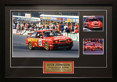 Dick Johnson Ford Sierra Rs500 Signed Framed Bathurst Motor Racing Memorabilia