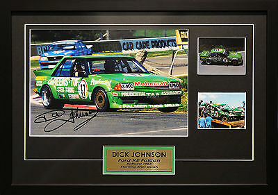 Dick Johnson Ford Xe Falcon Signed Framed Bathurst Motor Racing Memorabilia
