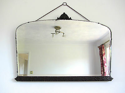 Vintage Art Deco Bevelled Edge Wall Mirror With Oak Detailing