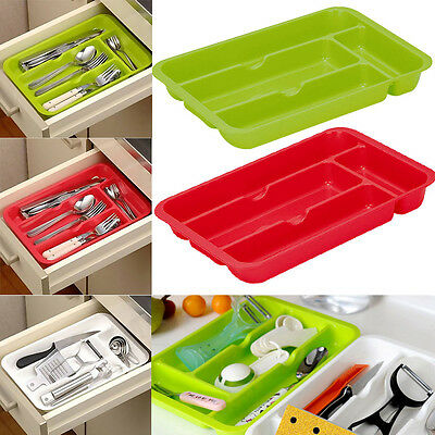 Plastic Cutlery Tray Box Insert Cabinet Kitchen Drawer Storage Organiser 30*20cm