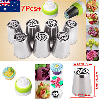 7Pcs Russian Tulip Icing Piping Nozzle Set Cake Cupcake Decoration Tips Tool AU