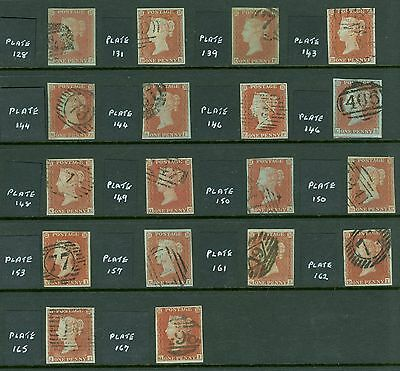 SG 8 1841 1d reds x 14 plate examples, all 4 margins all good to very fine nice