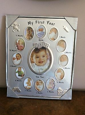 Baby My First Year Photo Frame 12 Months Collage Shower Newborn Gift Keepsake