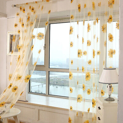 Honana 1x2m Sun Flower Voile Curtain Transparent Panel Window Room Divider Sheer