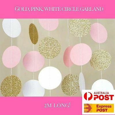 2m pink gold white circle bunting garland baby shower decorations girl