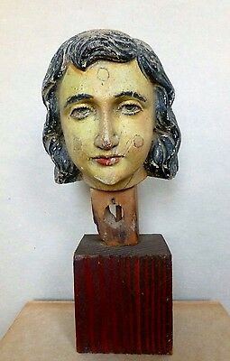 Italian Polychrome Wood Head of A Saint Angel Fragment Sculpture  C1890's