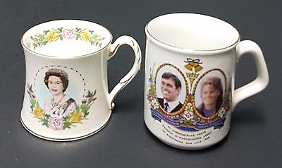 Set of 2 Royalty Cups - 1986 - Queen Elizabeth 60th - Prince Andrew Wedding