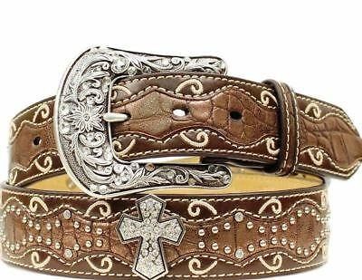 Ariat Western Belt Womens Inlay Scallop Cross Conchos Brown A1514002