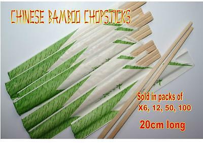 WRAPPED packs BAMBOO CHOPSTICKS   20cm LONG Chinese disposable wood 6 12 50 100