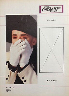 BOY GEORGE. TO BE REBORN - ORIGINAL 1 PAGE ADVERT FROM 1980s No1 MAGAZINE
