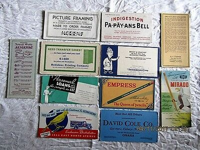 Lot of 11 ADVERTISING BLOTTERS CARDS  - VINTAGE - VARIETY