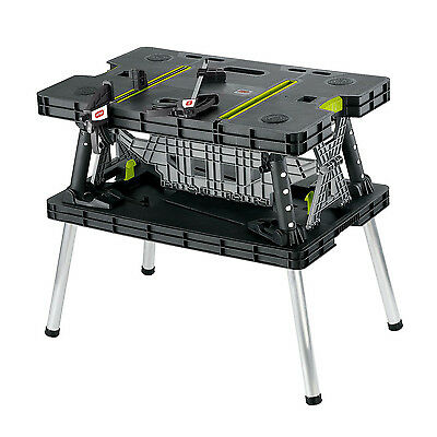 Keter Portable Adjustable Folding Garage Workbench Work Table with Clamps, Green