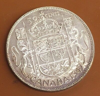 1947 Straight 7 Canada Half 50 Cent Coin Canadian Fifty Cents: Original Tone