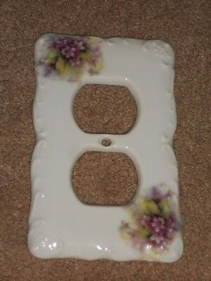 "CERAMIC PLUG COVER PLATE 3 1/4"" X 5"" WITH Flowers NICE #A"