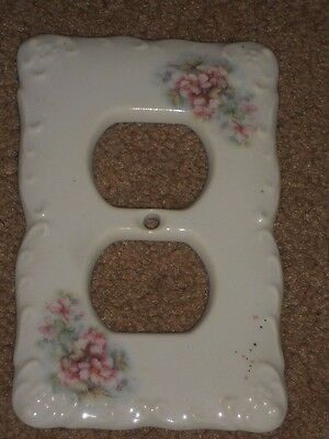 "CERAMIC PLUG COVER PLATE 3 1/4"" X 5"" WITH Flowers NICE #B"