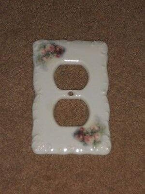 "CERAMIC PLUG COVER PLATE 3 1/4"" X 5"" WITH Flowers NICE #D"