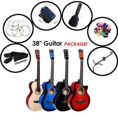 "38"" Acoustic Classic Guitar Package 3/4 Size Beginners Student / Adult 6 Strings"