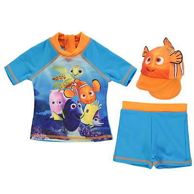 Disney Baby Finding Nemo Dory 3 Piece Swim Shirt Trunks Sun Hat Set