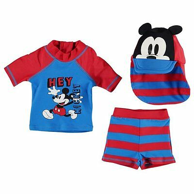 Disney Baby Boy Mickey Mouse 3 Piece Swim Shirt Trunks Sun Hat Set