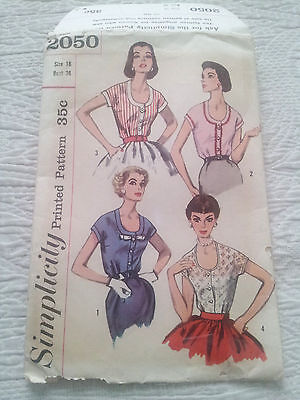 VTG 1950s Blouse Top Sewing Pattern 16/36 Simplicity 2050 UNCUT Complete 1957