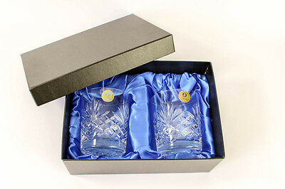 Zawiercie Hand Cut Crystal Whiskey Tumblers - Brand New With Quality Storage Box