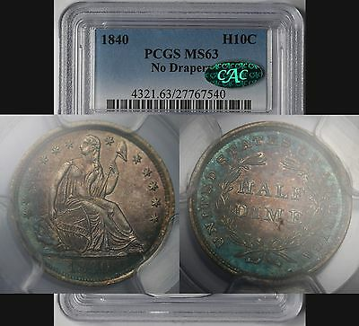1840 No Drapery Liberty Seated Half Dime H10C MS 63 PCGS CAC Approved