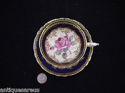 Paragon Cobalt  Blue Gold With Rose  Cabinet Tea Cup And Saucer Double Stamp