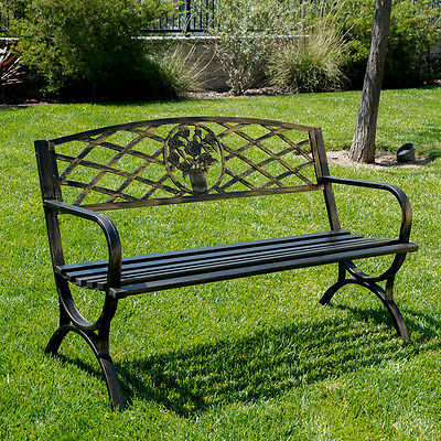 Outdoor Bench Patio Chair Metal Garden Furniture Deck Backyard Park Porch Seat