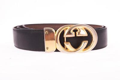 40461654c Designer GUCCI Double G Reversible Brown Black Leather GG Belt Made in Italy