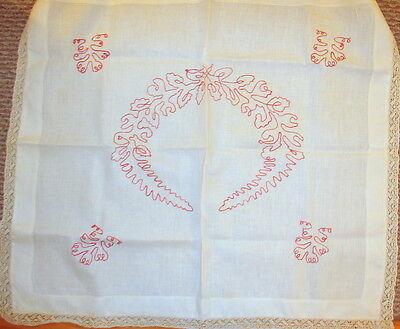 "Antq VICTORIAN TURKEY REDWORK EMBROIDERY PILLOWCOVER or CLOTH 29 X 26 + 1"" EDGE"