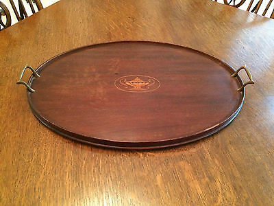 "Antique Vintage Victorian Inlaid Mahogany Oval Butler Serving Tray 24"" Footed"