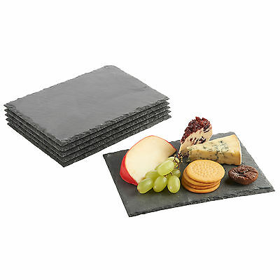 VonShef 6x Mini Small Slate Cheese Boards Serving Coaster Placemat Plate