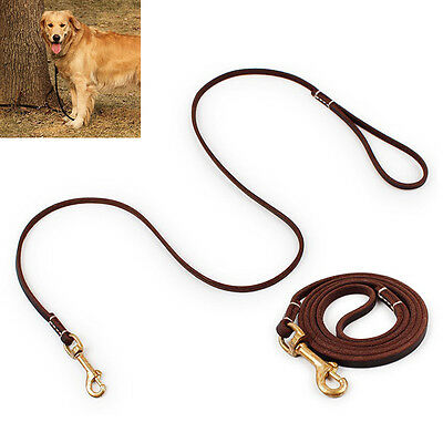 Durable Genuine Leather Pet Dog Puppy Training Leash Leads Walking Rope