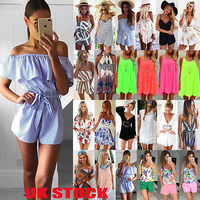 UK Boho Womens Holiday Sun Dress Mini Playsuit Summer Casual Beach Jumpsuit