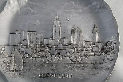 Wendell Augus 1940s Tin Decorate Plate Dish Hand Made in USA - City of Cleveland