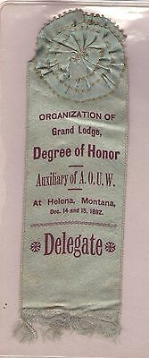 1892 Ancient Order Of United Workmen Aouw Degree Of Honor Helena Montana Ribbon
