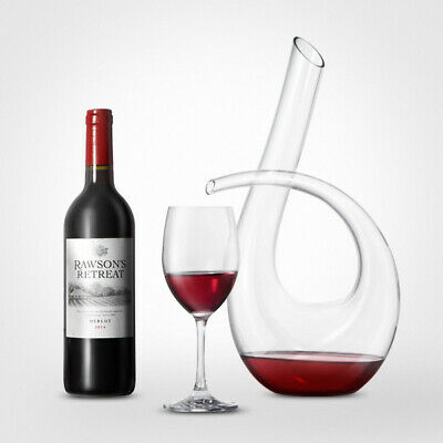 KCASA KC-RD82 1200ml Lead Free Crystal Glass Number 6 Shape Horn Wine Decanter C
