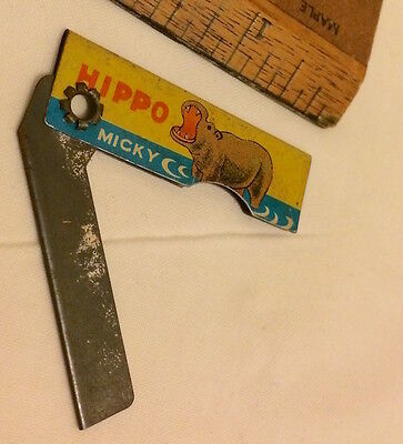 1950S Tin Toy Child's Pocket Knife Hippo By 'micky' Chinese? Or Straight Razor!