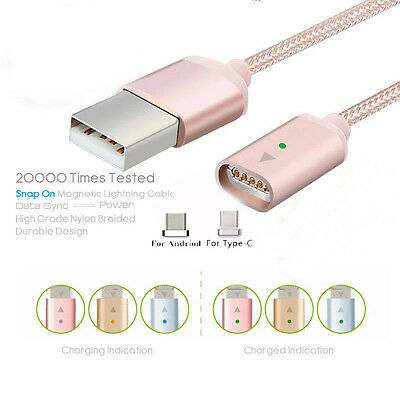 Magnetic Lightning Micro Type-C USB Fast Charging Cable For iPhone Samsung Phone