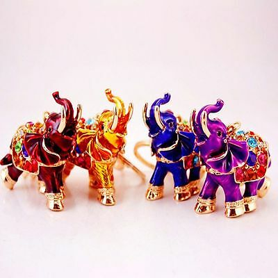 Full Colored Crystal Keyring 3D Auspicious Elephant Bag Pendant Keychains