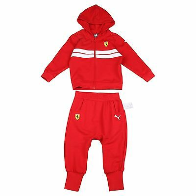 Puma Ferrari Infant Jogsuit Babies Hooded Jacket Pant Set Tracksuit Red Gift Set