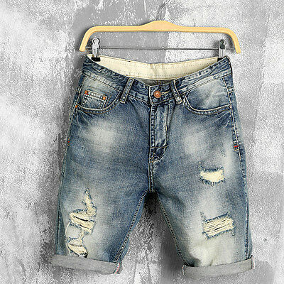 Mens Short Denim Jean Pants Cool Casual Jeans Trousers Thigh Ripped Holes Shorts