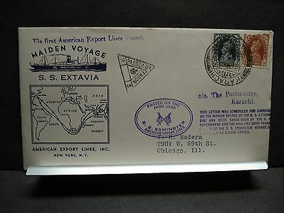 SS EXTAVIA AMERICAN EXPORT LINES Naval Cover 1941 MAIDEN VOYAGE Cachet PAKISTAN